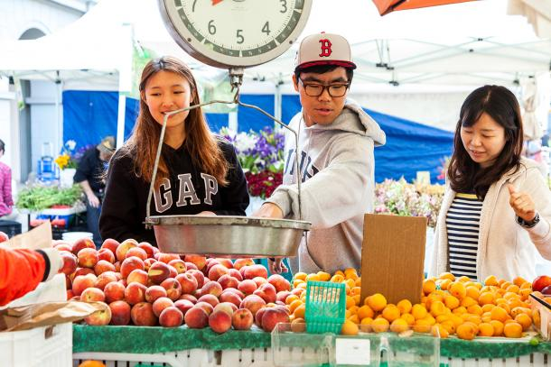 Shoppers at the Ferry Plaza Farmers Market.