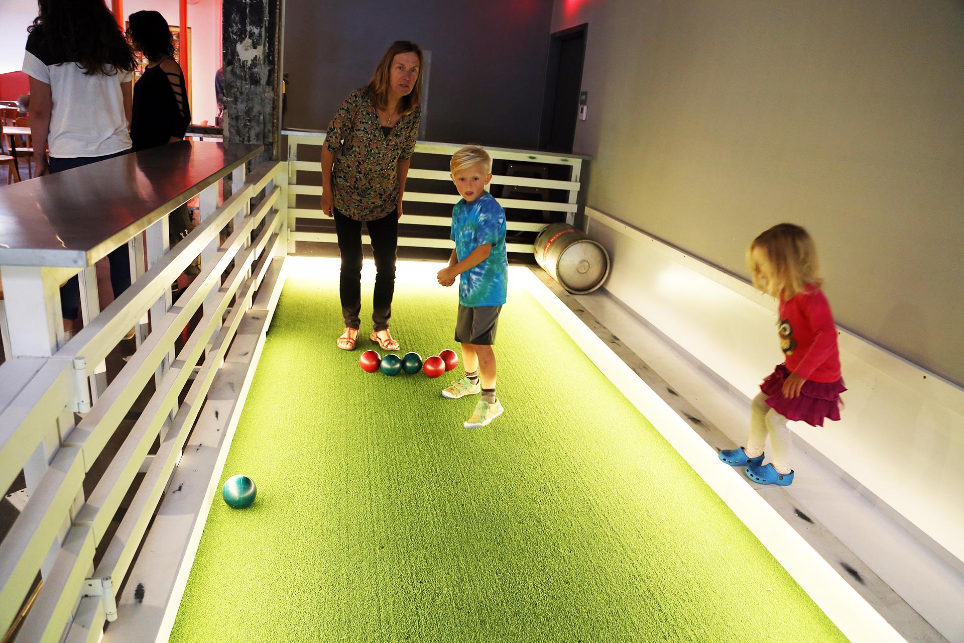 Kid-friendly indoor bocce court.