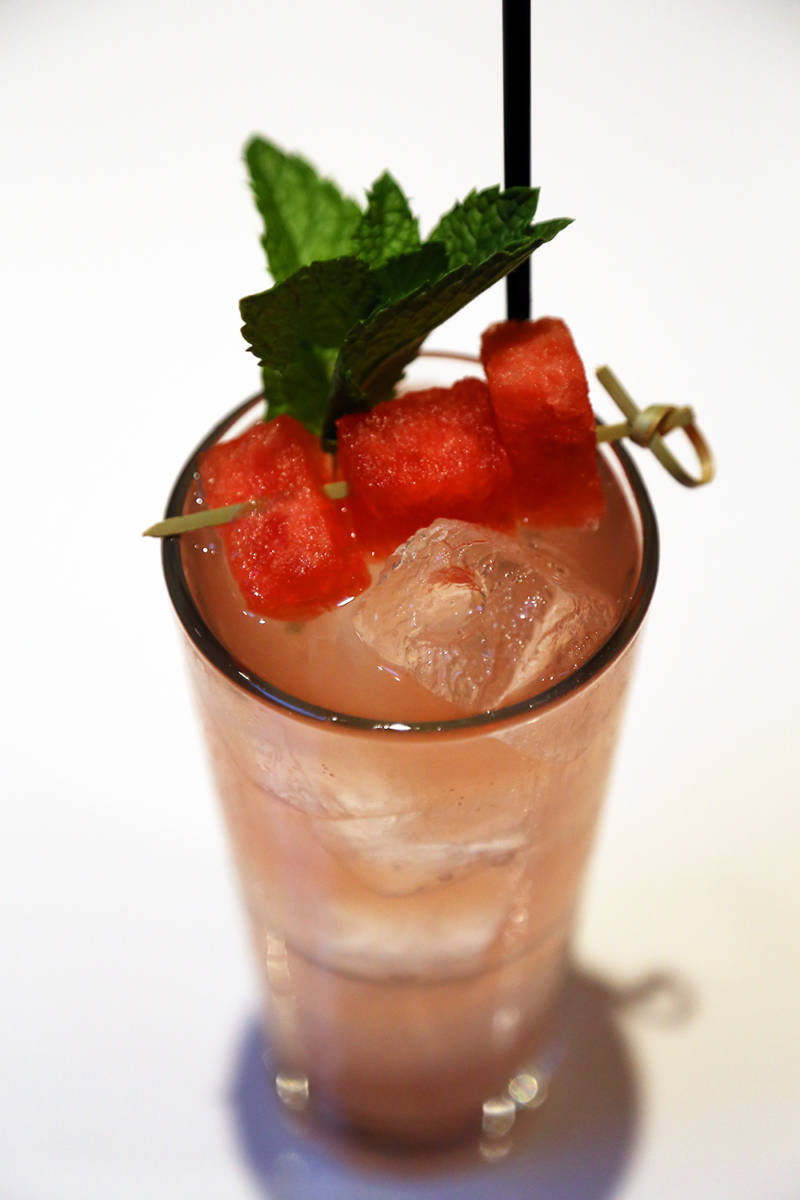 Spritz of watermelon and mint with Carpano Bianco, and a splash of Mezcal.