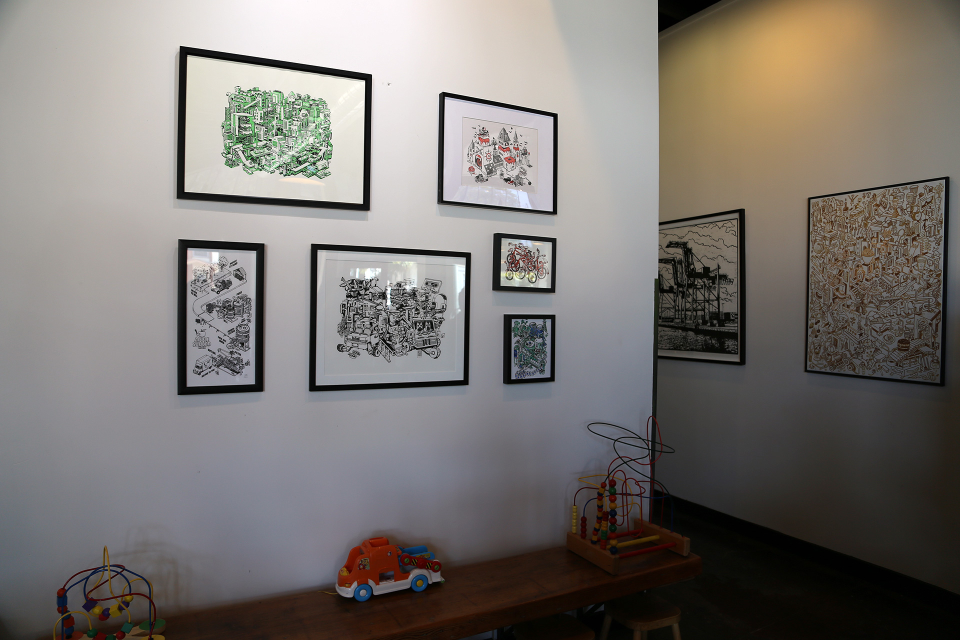 Local artist Nigel Sussman's artwork and kid-friendly space