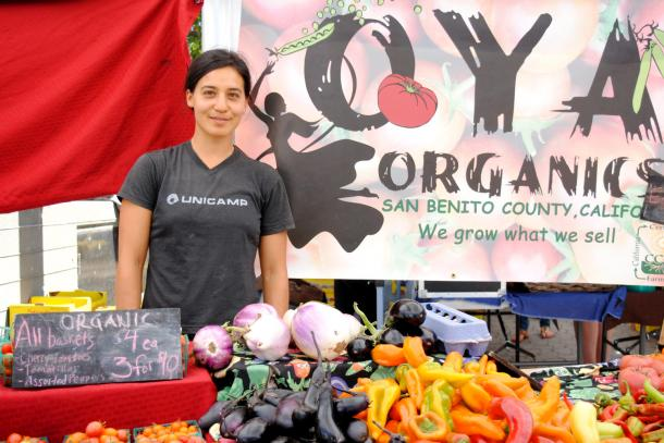 Young farmer Marsha Habib of Oya Organics, Hollister.