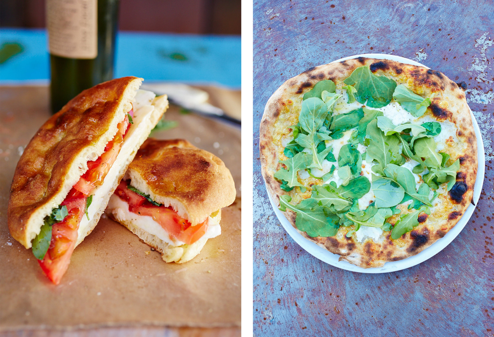 Left: mozzarella and tomato sandwich. Right: pizza biancoverde.