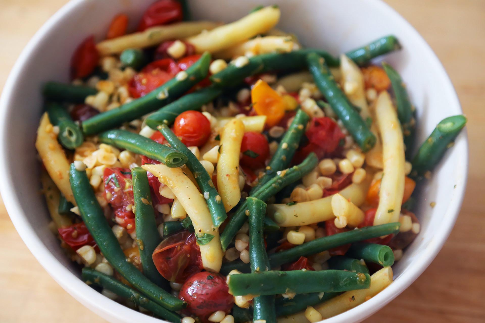 Corn, Green Bean, and Cherry Tomato Sauté