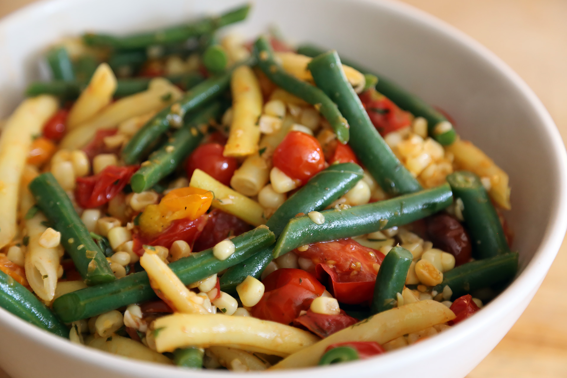 Corn, Green Bean, and Cherry Tomato Sauté