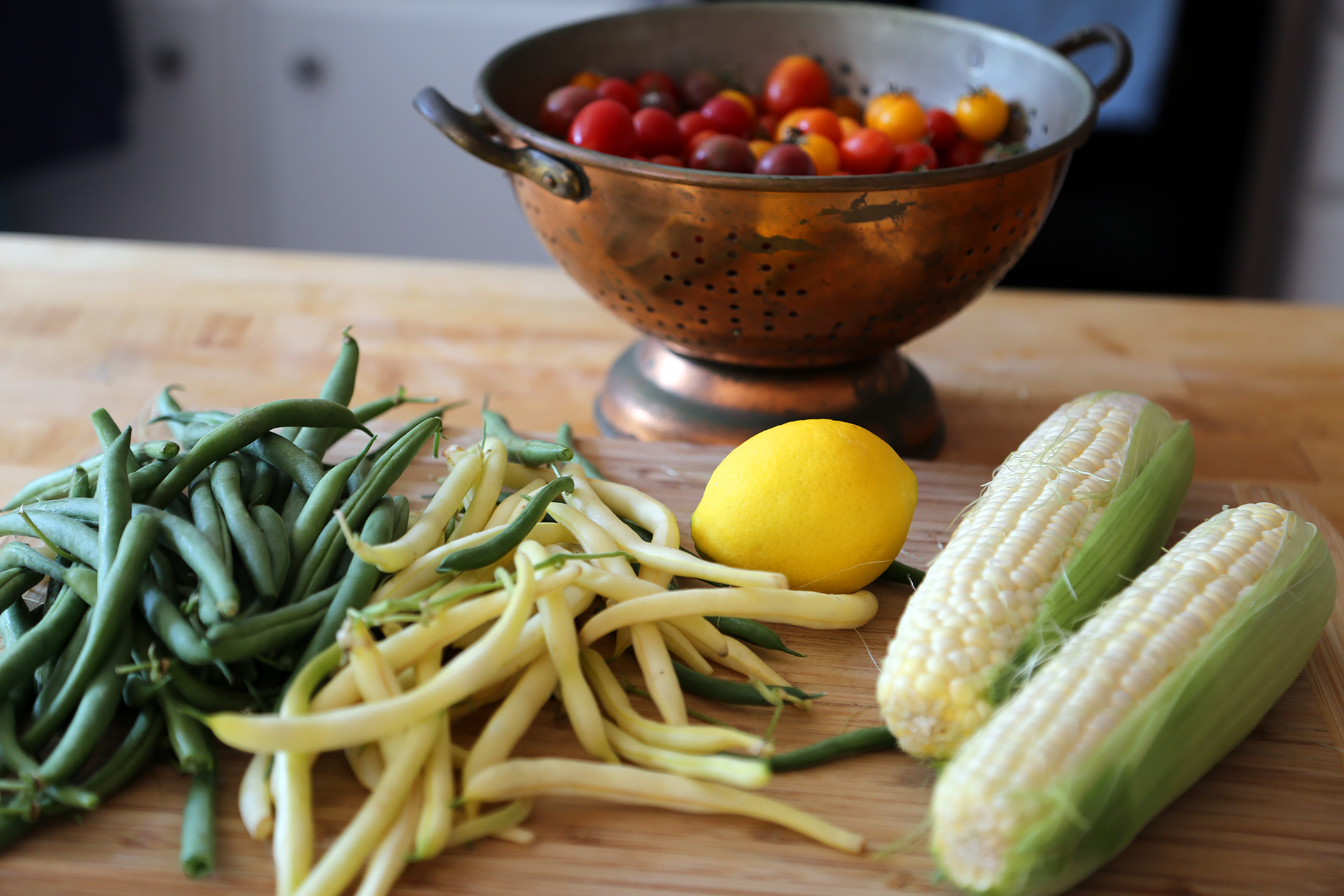 Ingredients for Corn, Green Bean, and Cherry Tomato Sauté