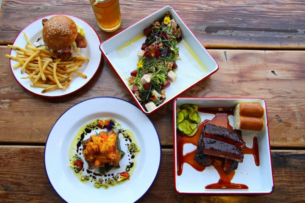 A selection of dishes at Brewster's Beer Garden in Petaluma.