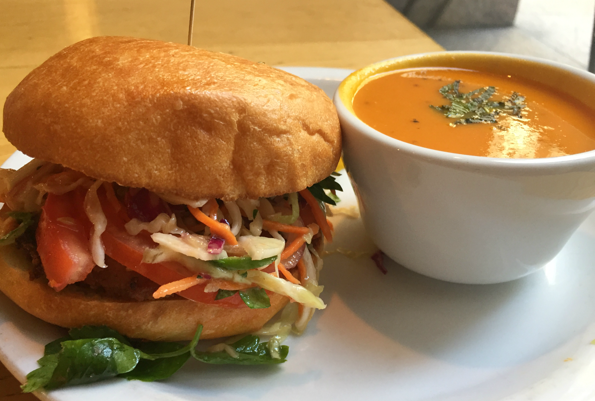 A crispy fried chicken sandwich with the soup of the day from the Plant Cafe Organic.