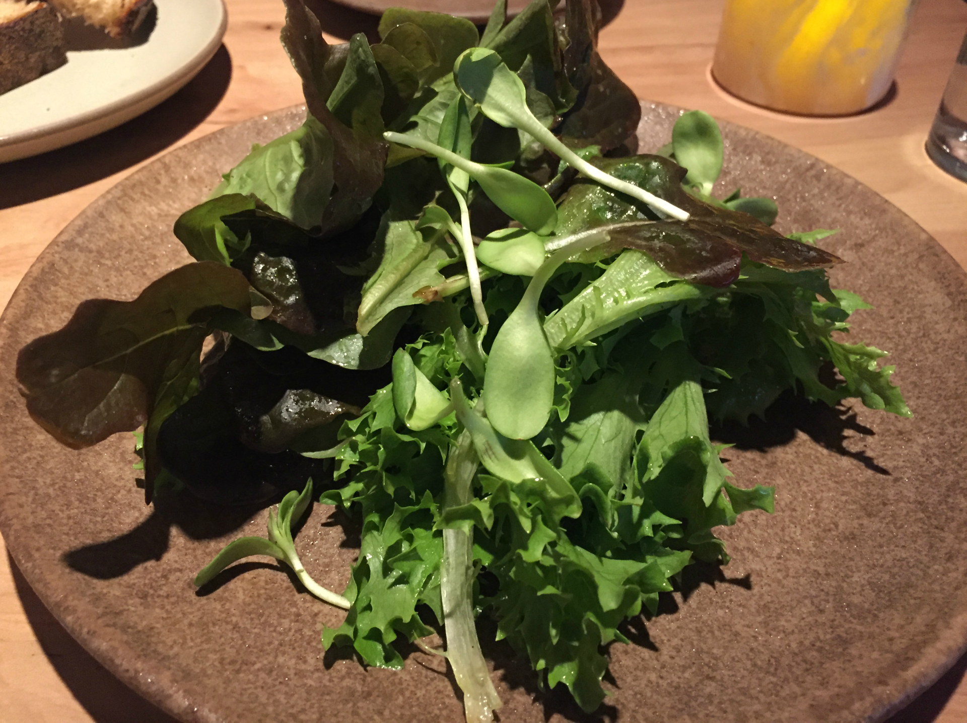 The restaurant's greens come from an aquaponic farm in West Oakland.