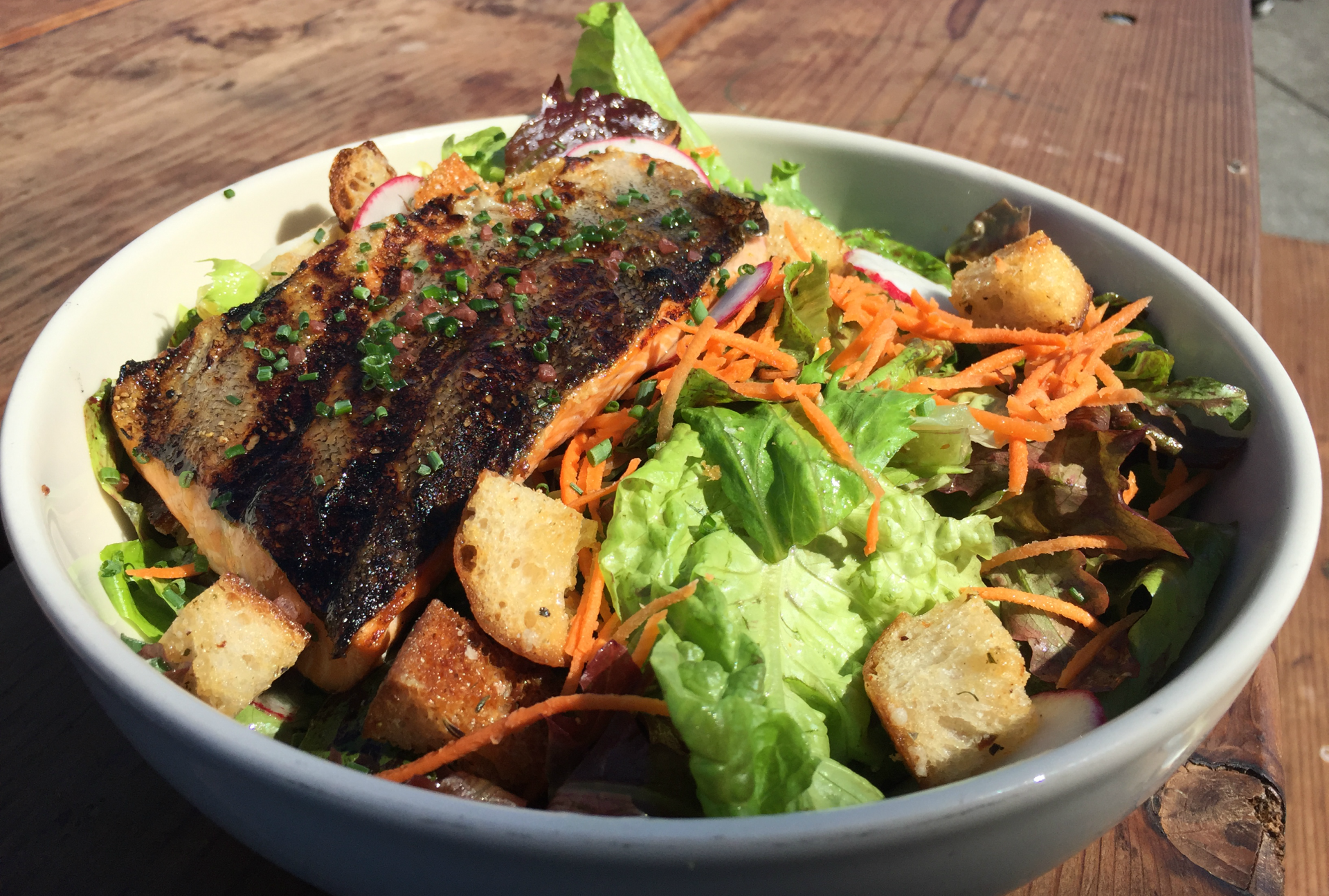 You can get the fish of the day--here, a rainbow trout--with pasta, salad or as part of a sandwich.  Shelby Pope
