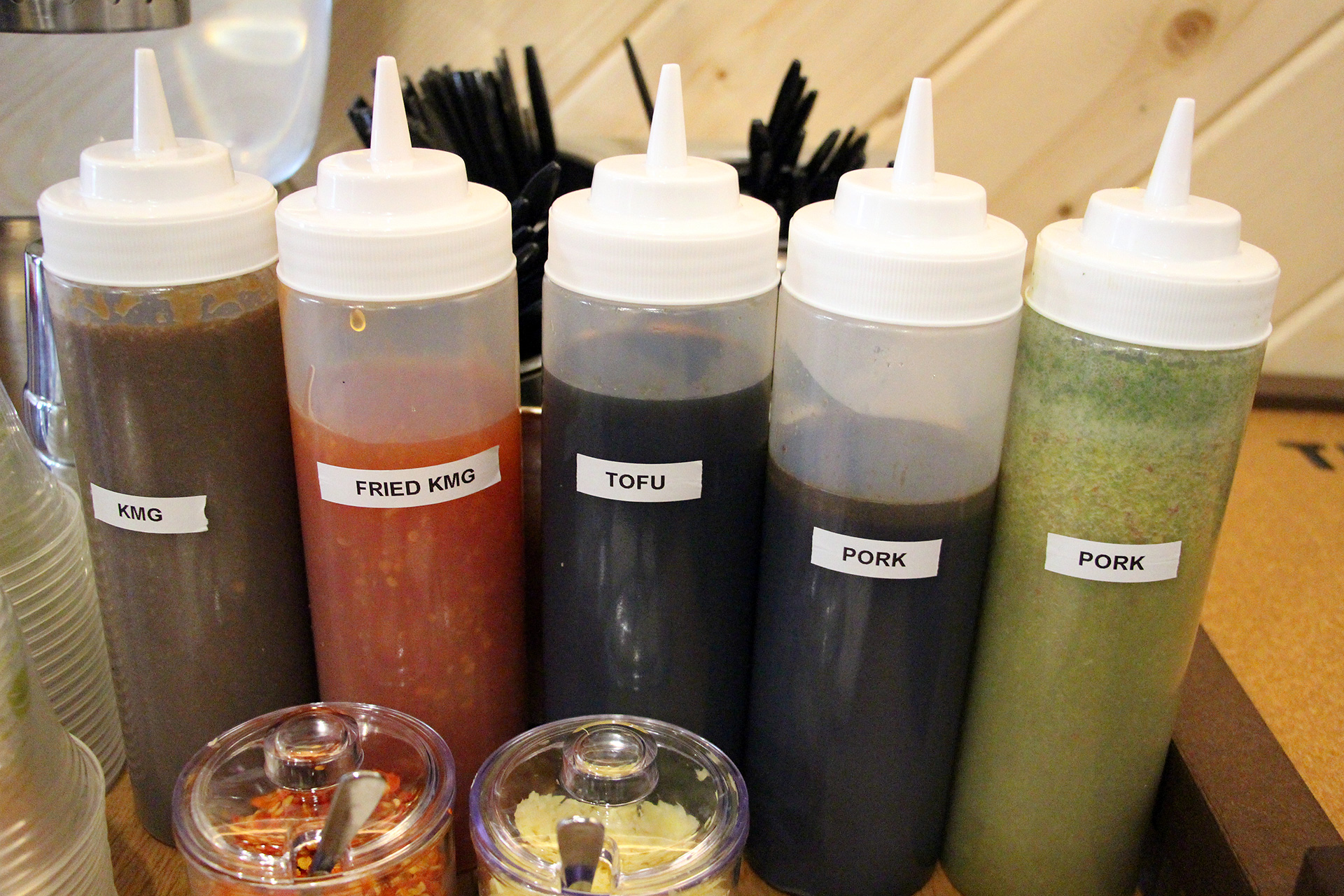 Sauces that accompany the dishes.