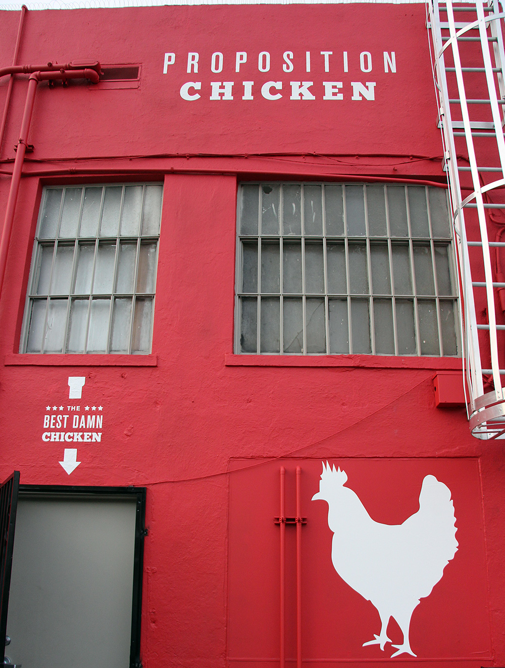 The back entrance to Proposition Chicken