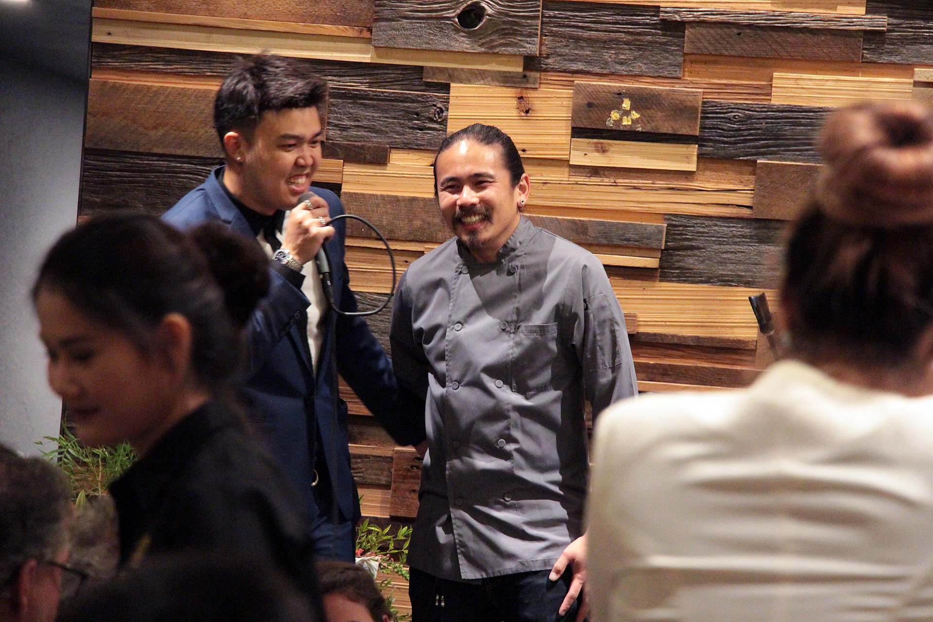 Goody Kay (L) introduces chef Chanon Hutasingh (R) who is overseeing the kitchen at Esan Classic.