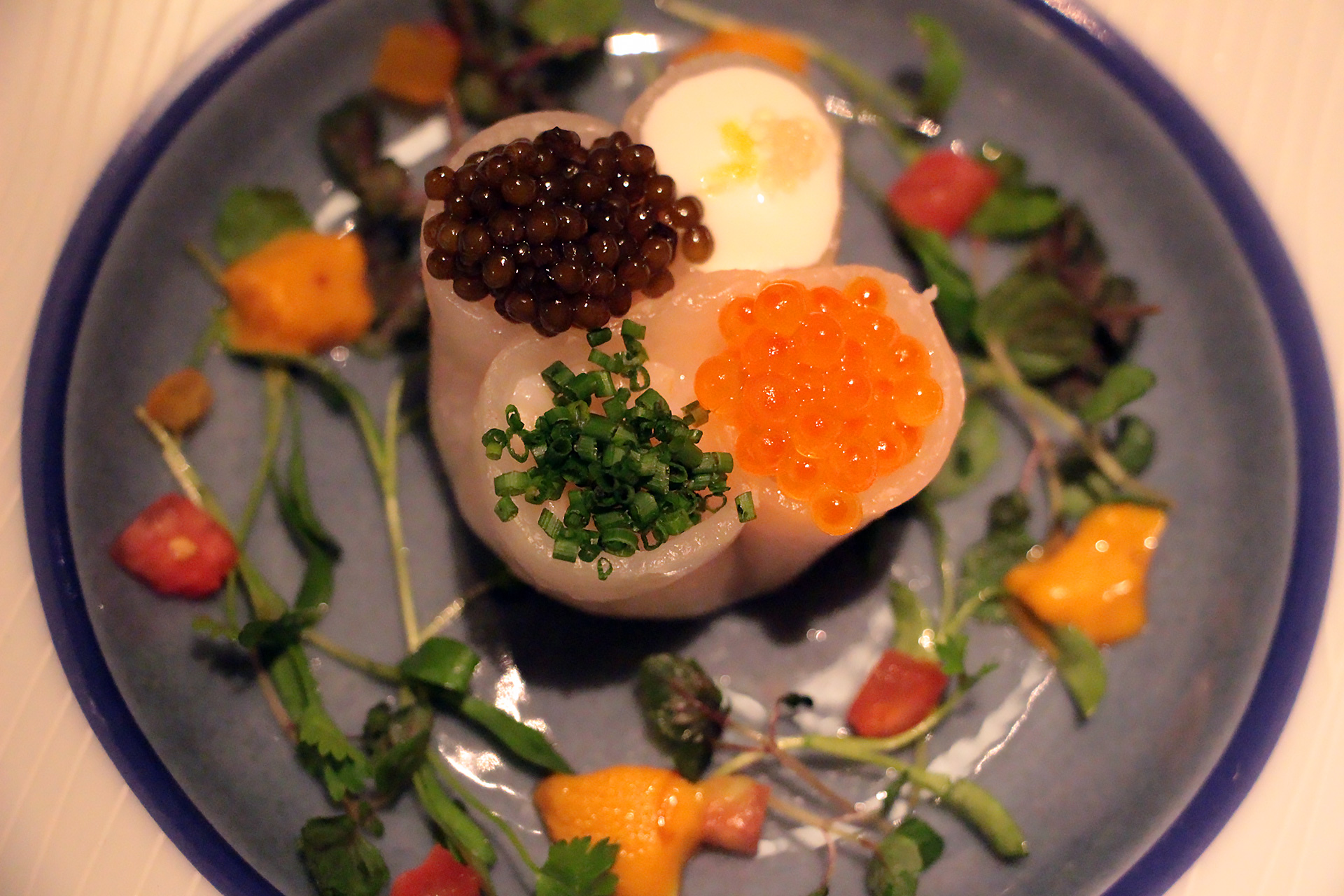 Four Seas Dumpling - Russian Golden Osetra, Sea Urchin, Heirloom Salad