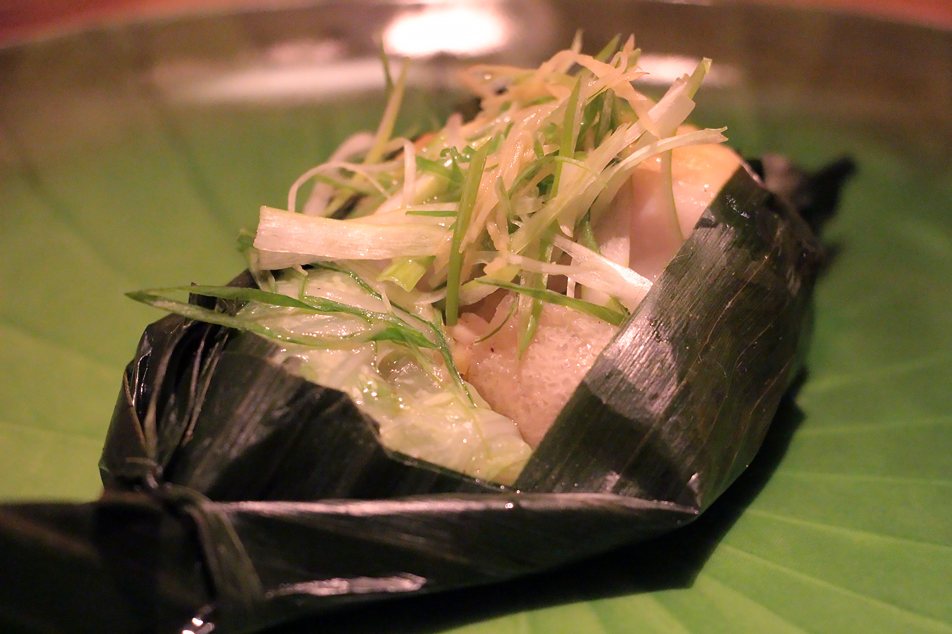 Black Cod Wrapped in Banana Leaf - Picked White Melon, Bamboo 'Cannelloni'