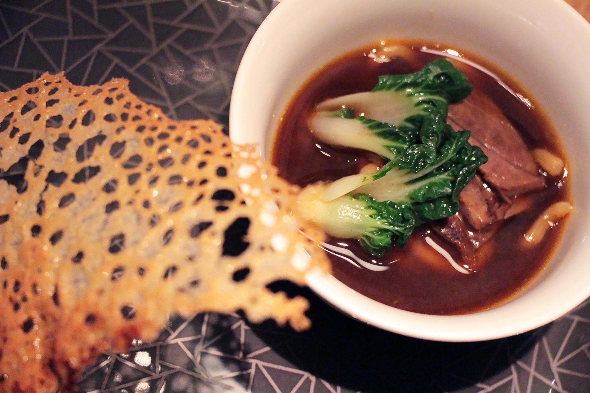 Hudson Valley Foie Gras Potsticker - Beef Noodle Soup