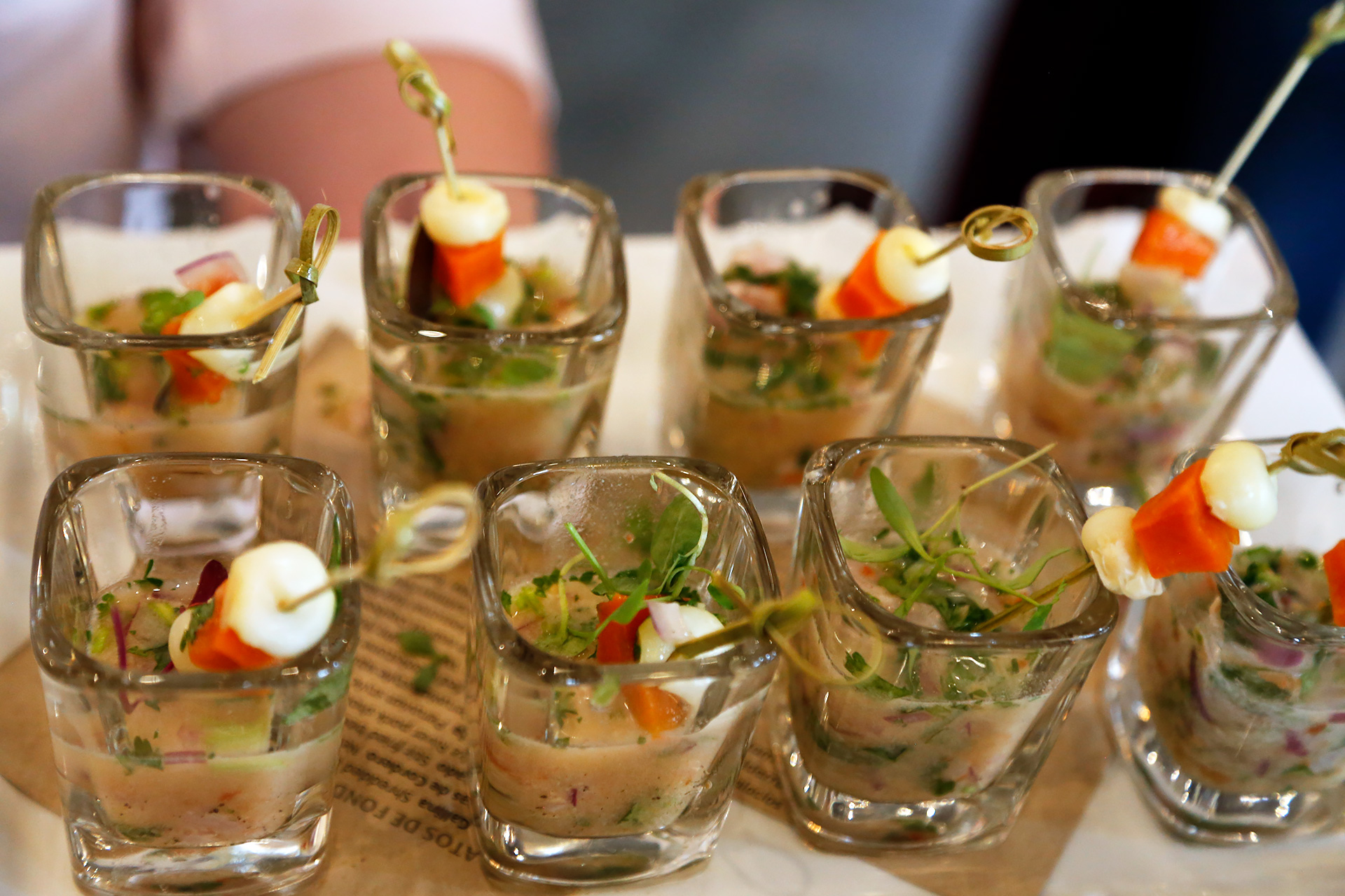 Cebiche presented in a shot glass