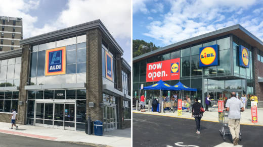 German grocers Aldi and Lidl are aggressively growing their U.S. footprint. Aldi, which aims to have 2,500 stores by 2022, has recently renovated this store in Alexandria, Va. (left) And Lidl's new location in Manassas, Va., was its 30th in the country.