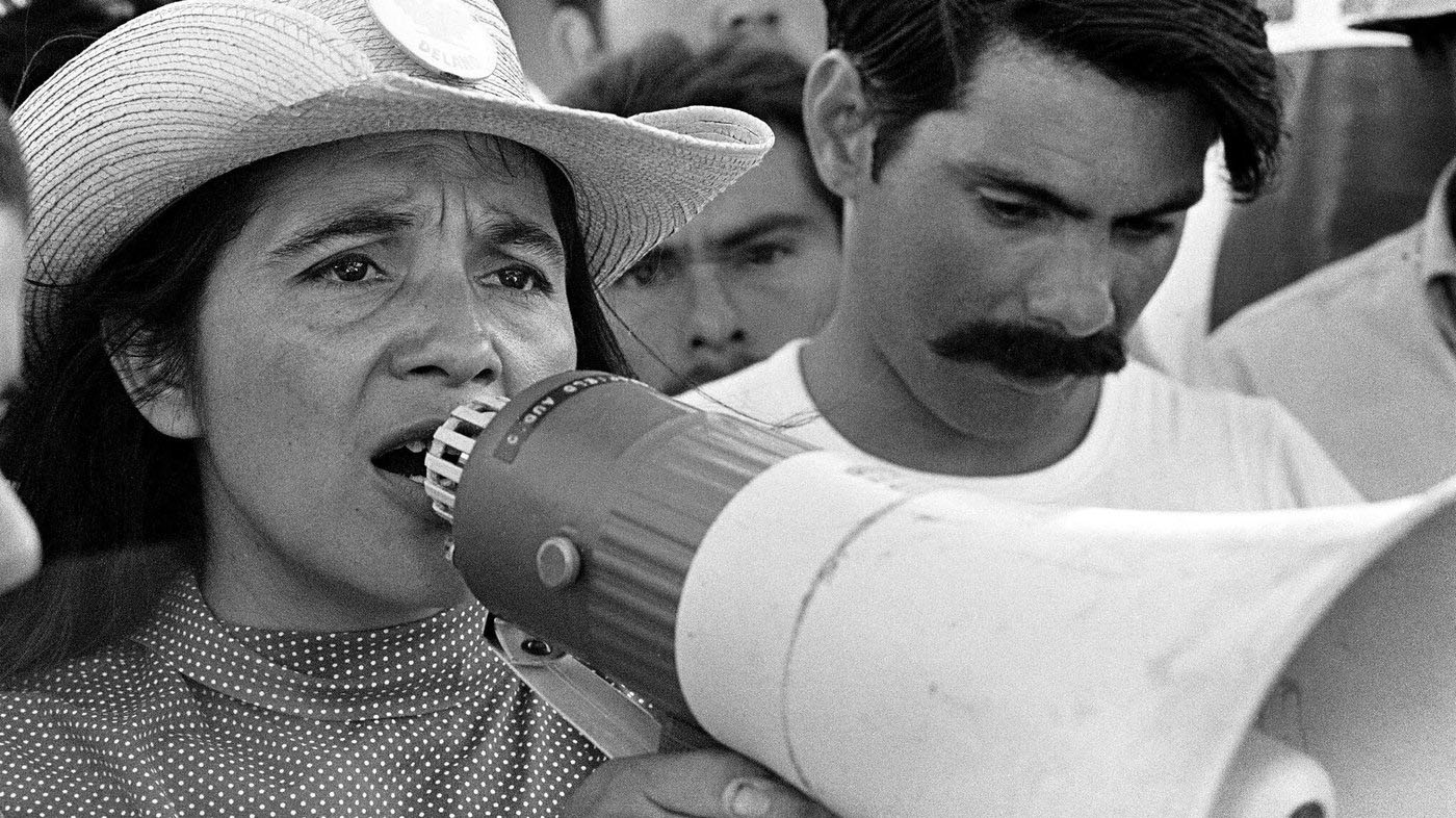 Huerta organizes marchers in Coachella, Calif., in 1969. She's been an outspoken activist for the rights of farmworkers and the downtrodden for much of her life.