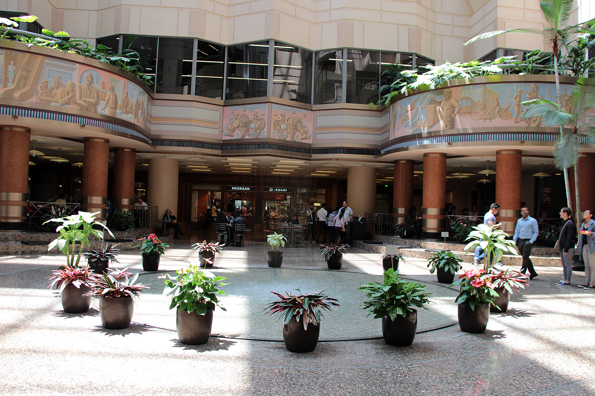 Rincon Center's fountain is a scenic spot to enjoy to-go lunch.
