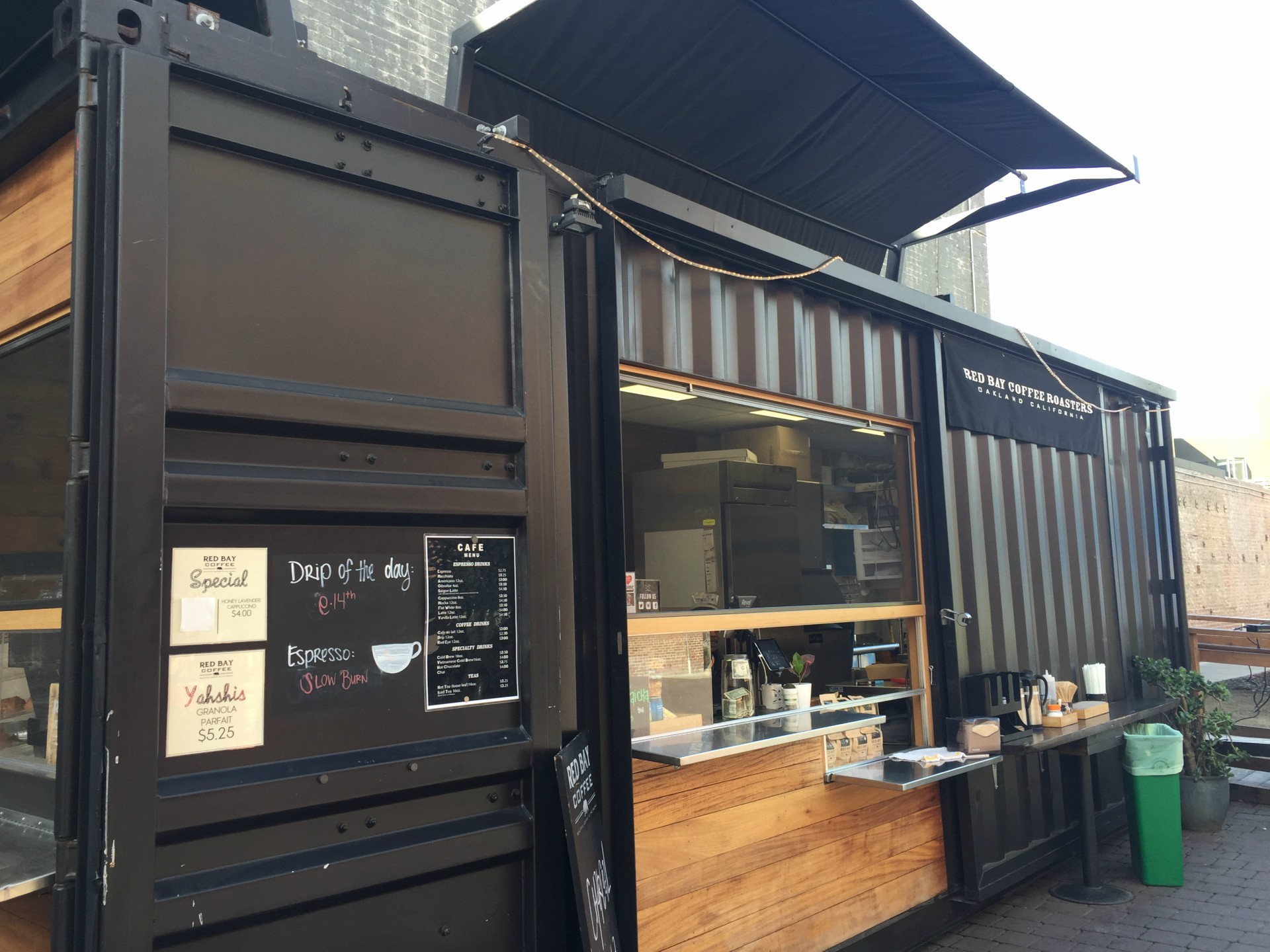 Red Bay Coffee's cafe repurposes an old shipping container.