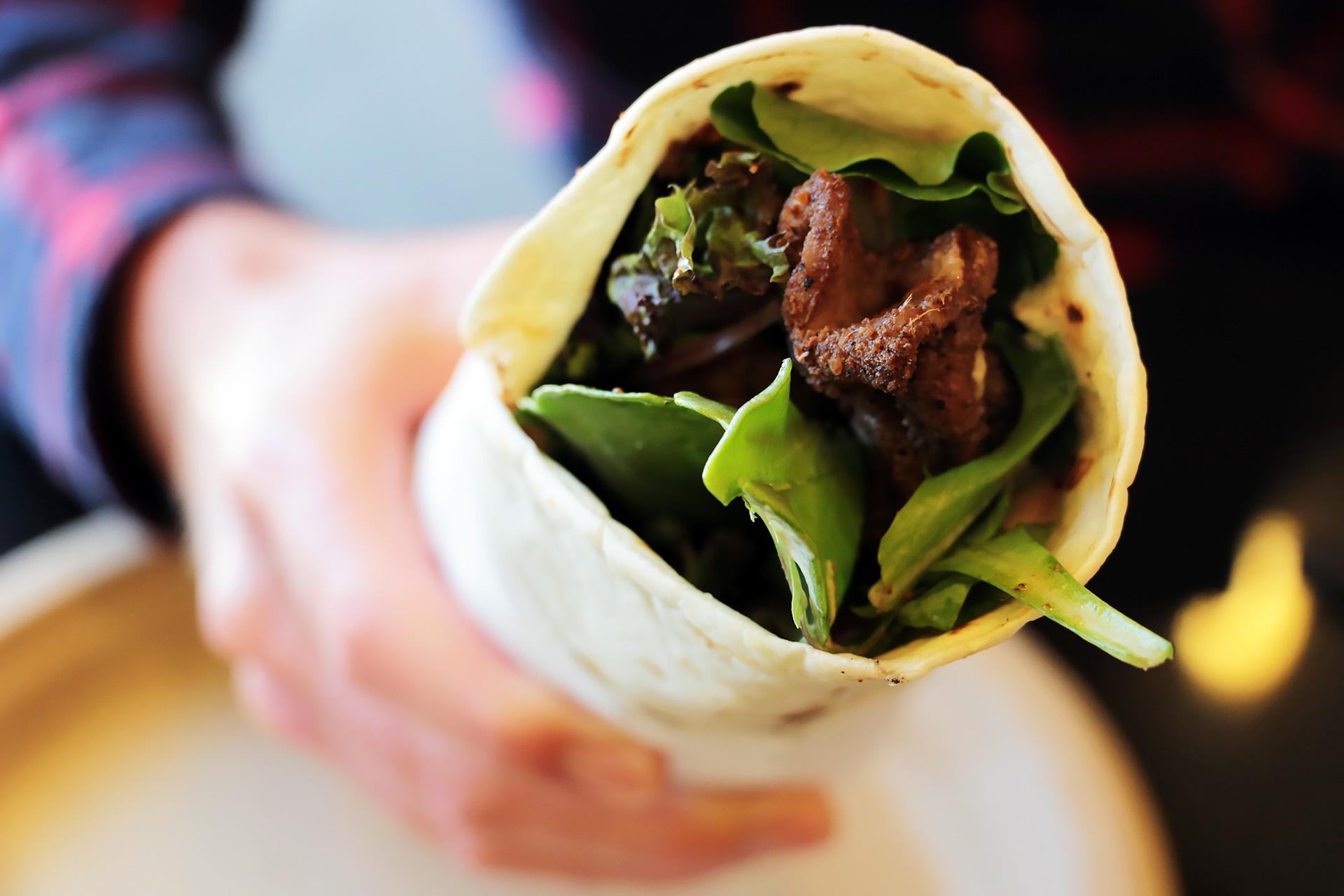 Suya-spiced beef wrap.
