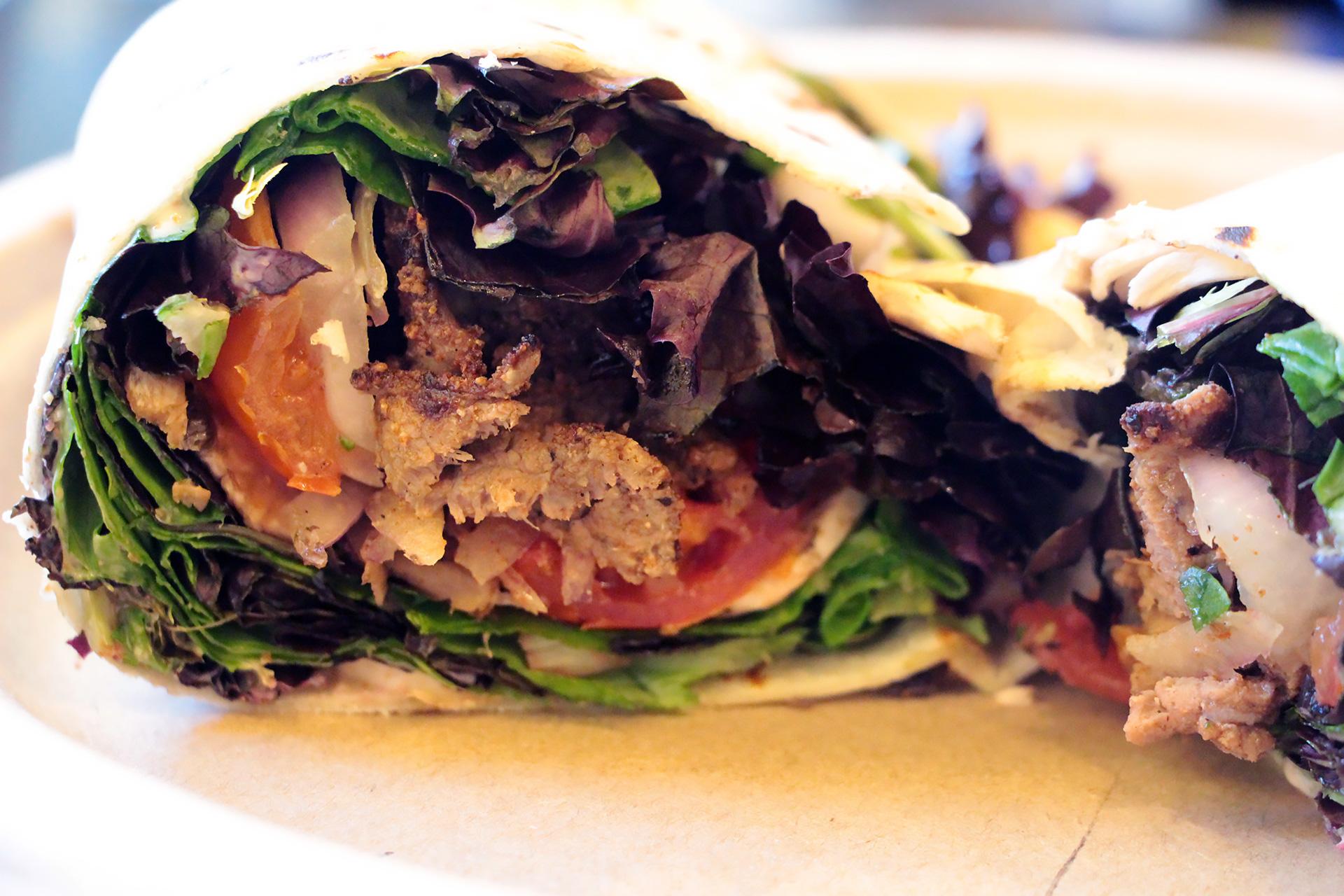 Inside the suya-spiced beef wrap.
