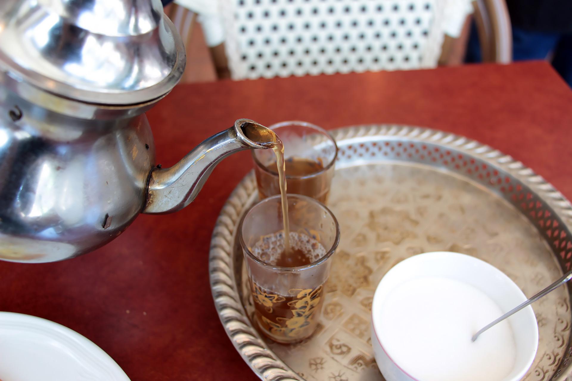 Moroccan mint tea at Cafe Zitouna.
