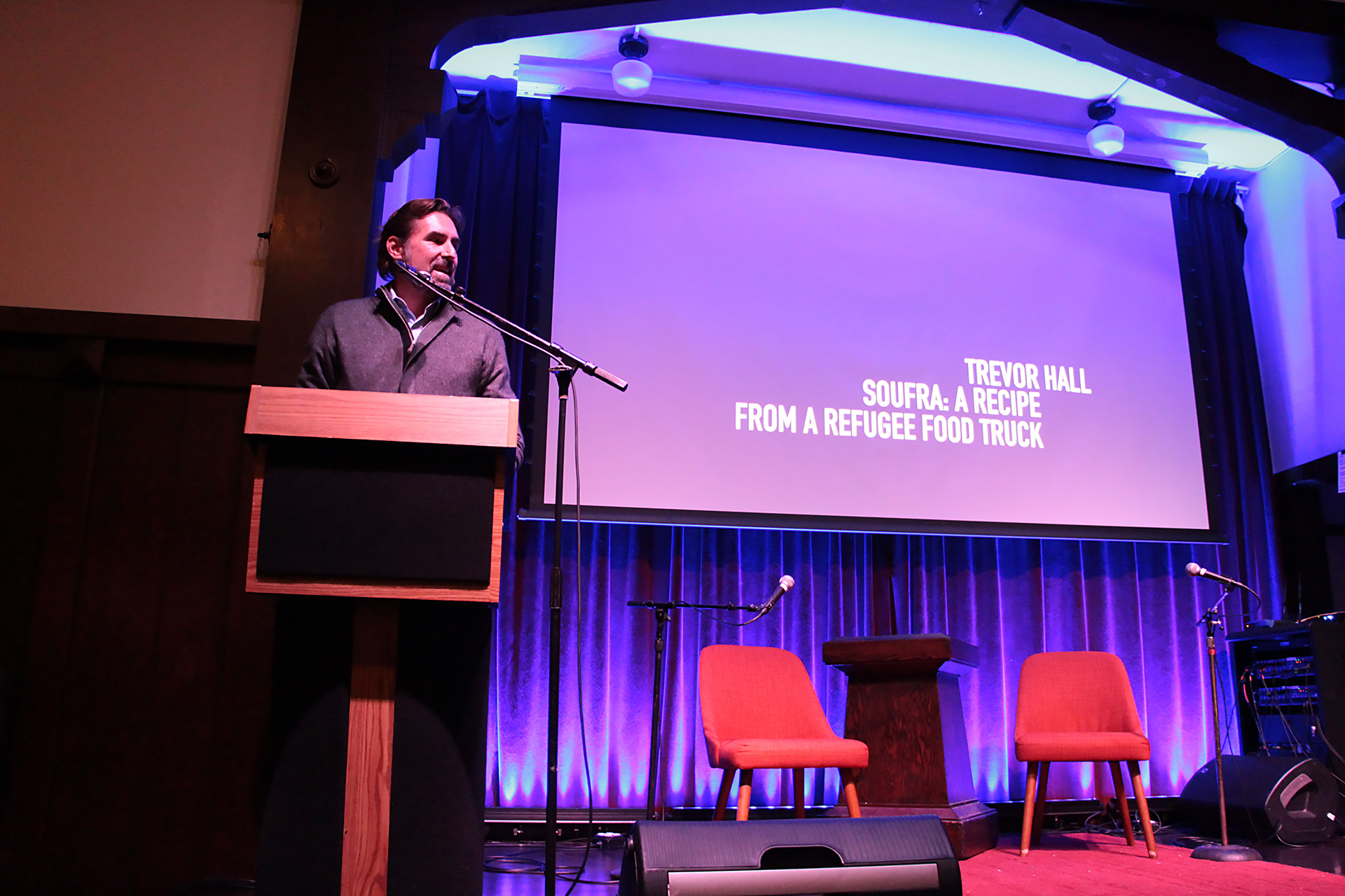 The most powerful example of the connection between food and refuge came in film clips from an upcoming documentary called: Soufra: A Recipe from a Refugee Food Truck, presented by producer Trevor Hall.
