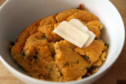 Sweet Potato Spoonbread with Roasted Poblanos