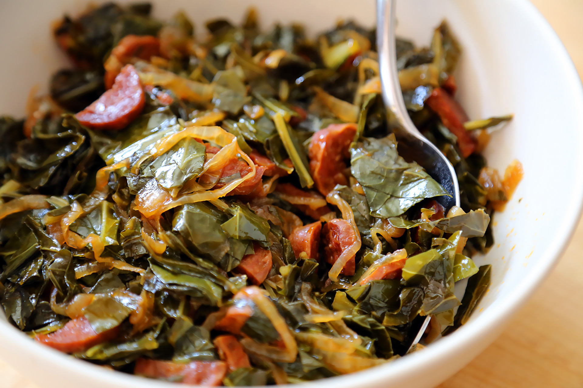 Collard Greens with Chorizo and Caramelized Onions