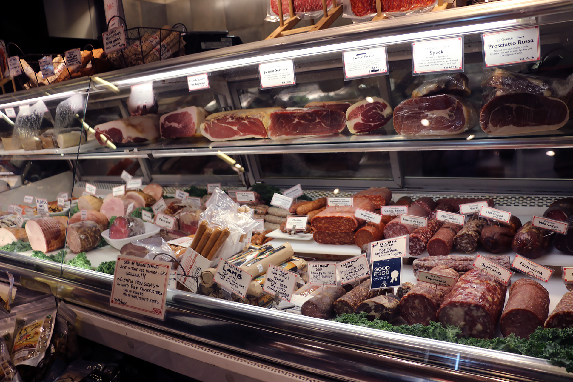 Cured meats galore at the deli inside Market Hall Foods.