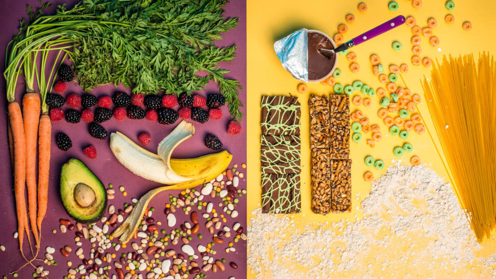 The foods on the left contain naturally occurring fibers that are intrinsic in plants. The foods on the right contain isolated fibers, such as chicory root, which are extracted and added to processed foods. The FDA will determine whether added fibers can count as dietary fiber on Nutrition Facts labels.