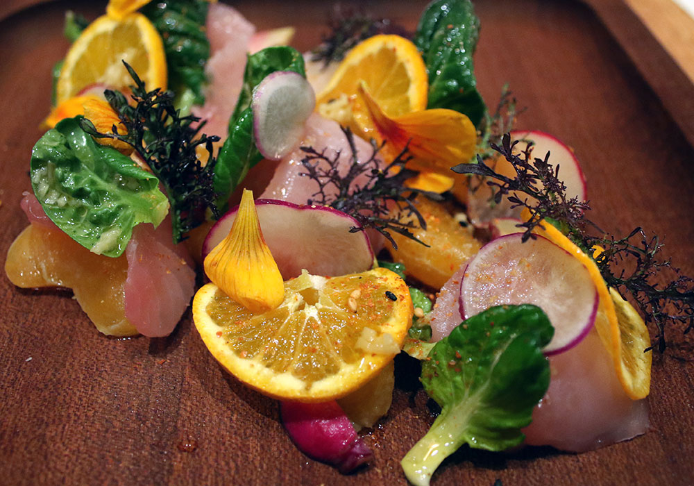 Pacific Yellowtail with tai soi, ginger, citrus, togarishi, $18 at SHED Cafe in Healdsburg.