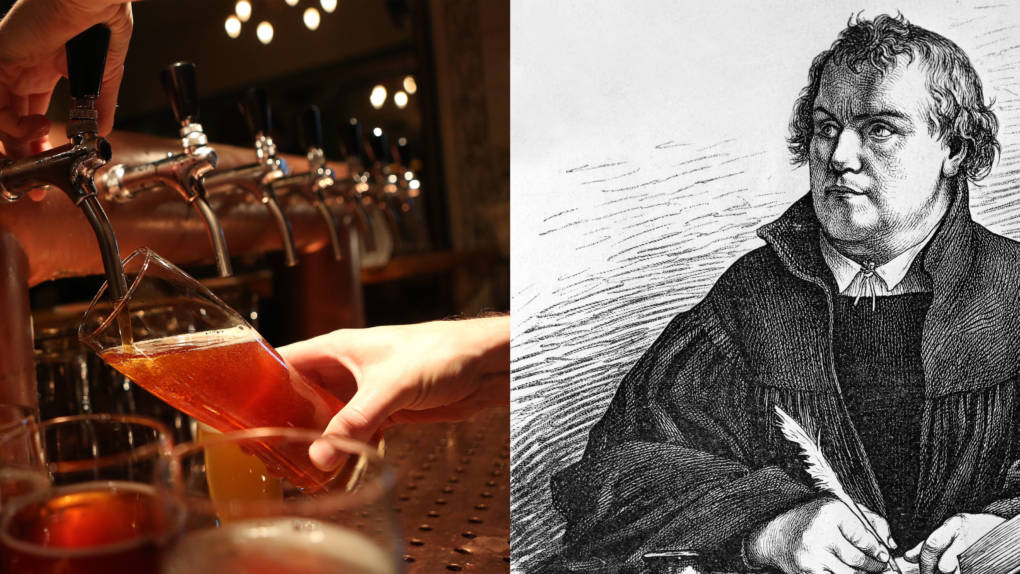 Left: A bartender at Hops & Barley brew pub pours a pint of beer in Berlin, Germany. Right: A portrait of Martin Luther. The protest that Luther launched 500 years ago not only revamped how Europe worshiped, but also how it drank. He and his followers promoted hops in beer as an act of rebellion against the Catholic Church.