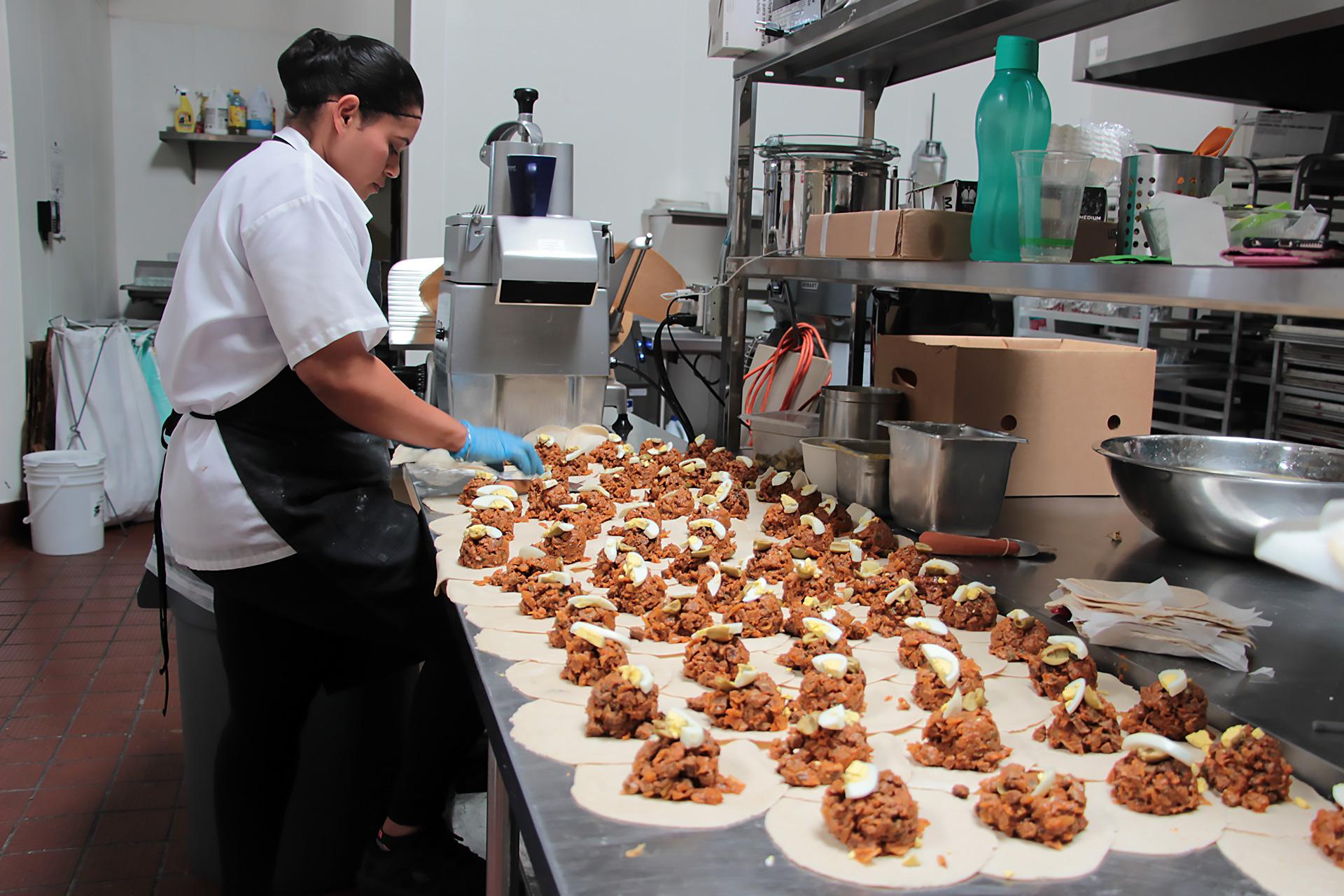 El Sur empanadas being made in the kitchen