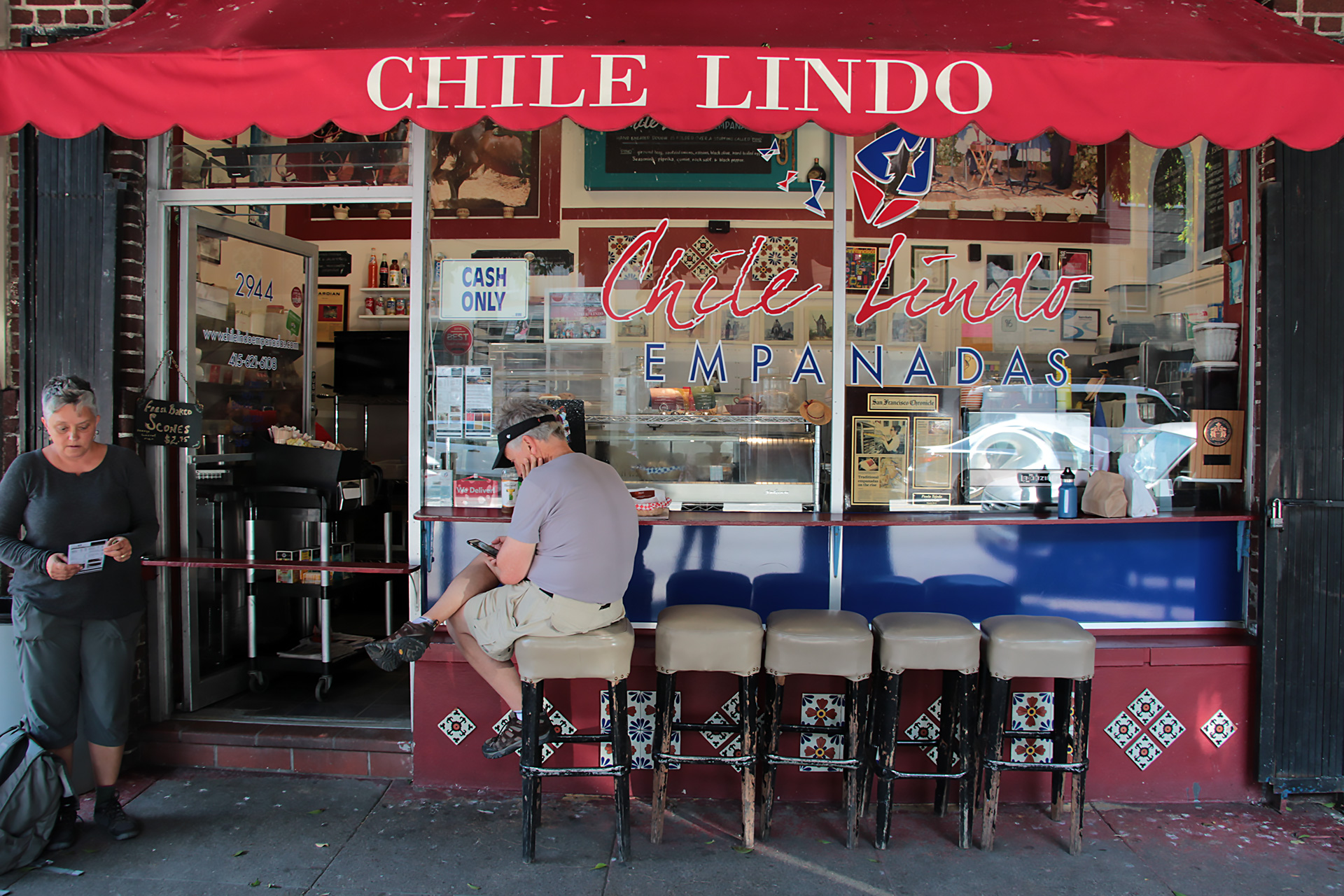 Outdoor seating at Chile Lindo.