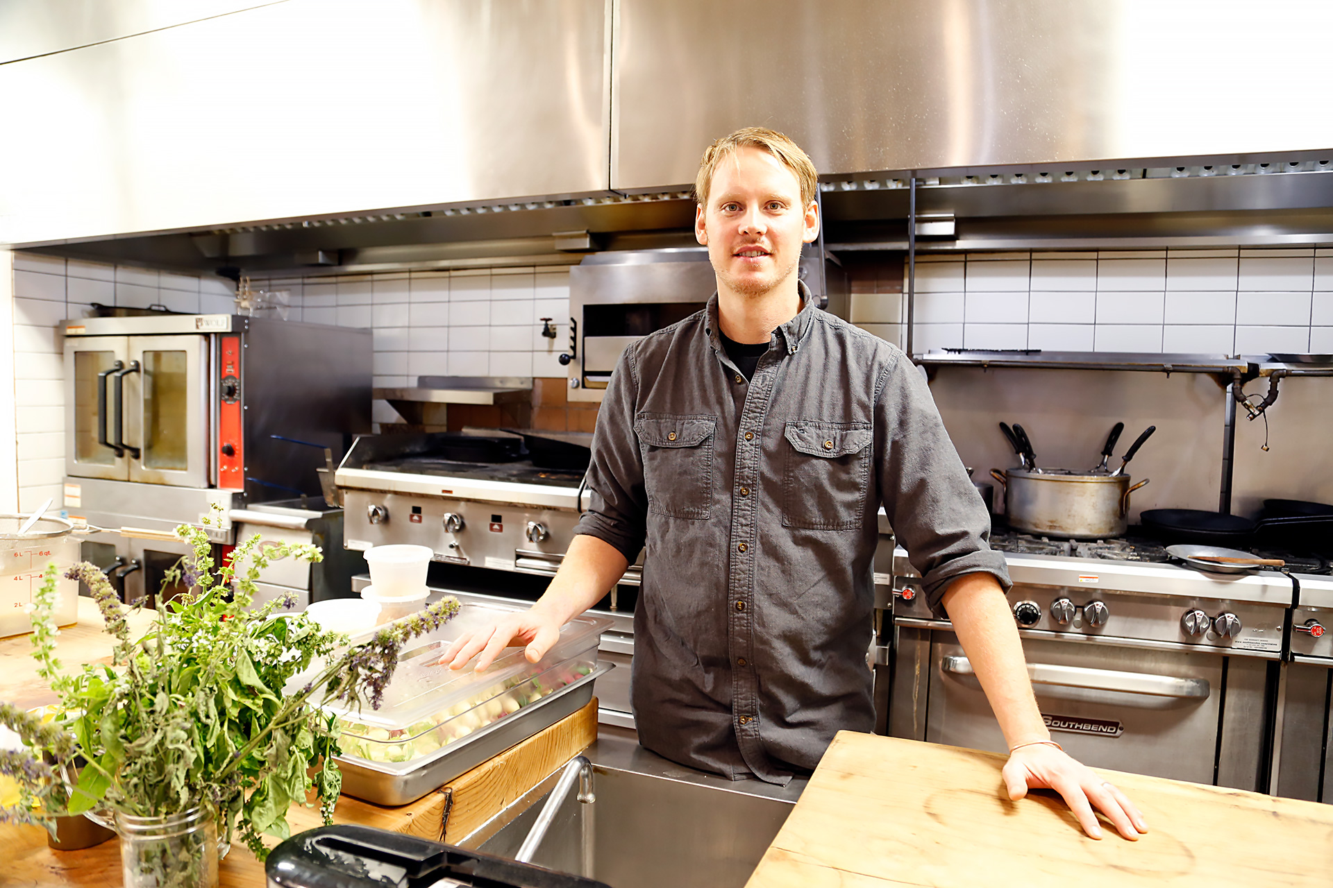 Erik Johnson in the kitchen at Trading Post.