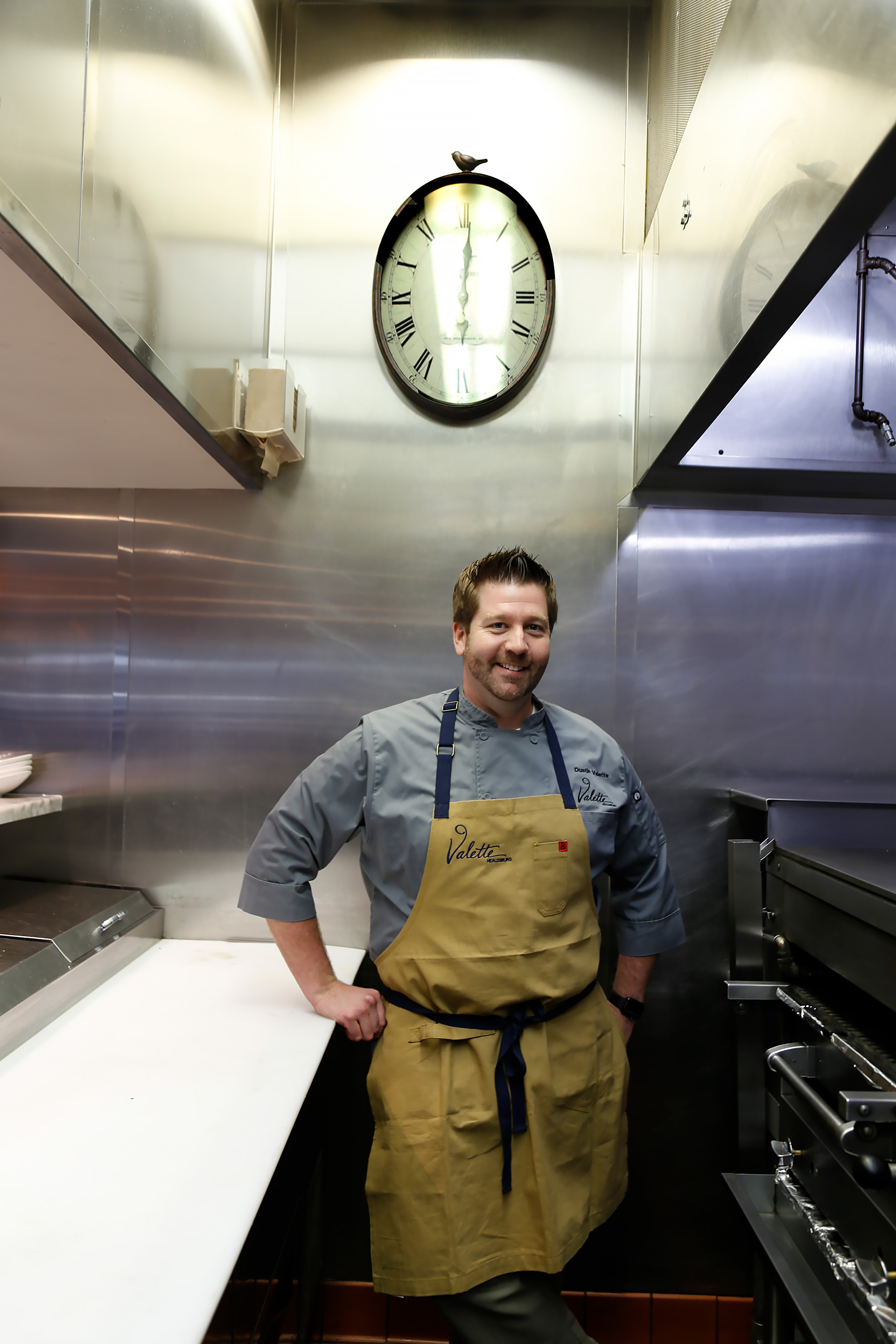 Dustin Valette in the open kitchen at Valette.