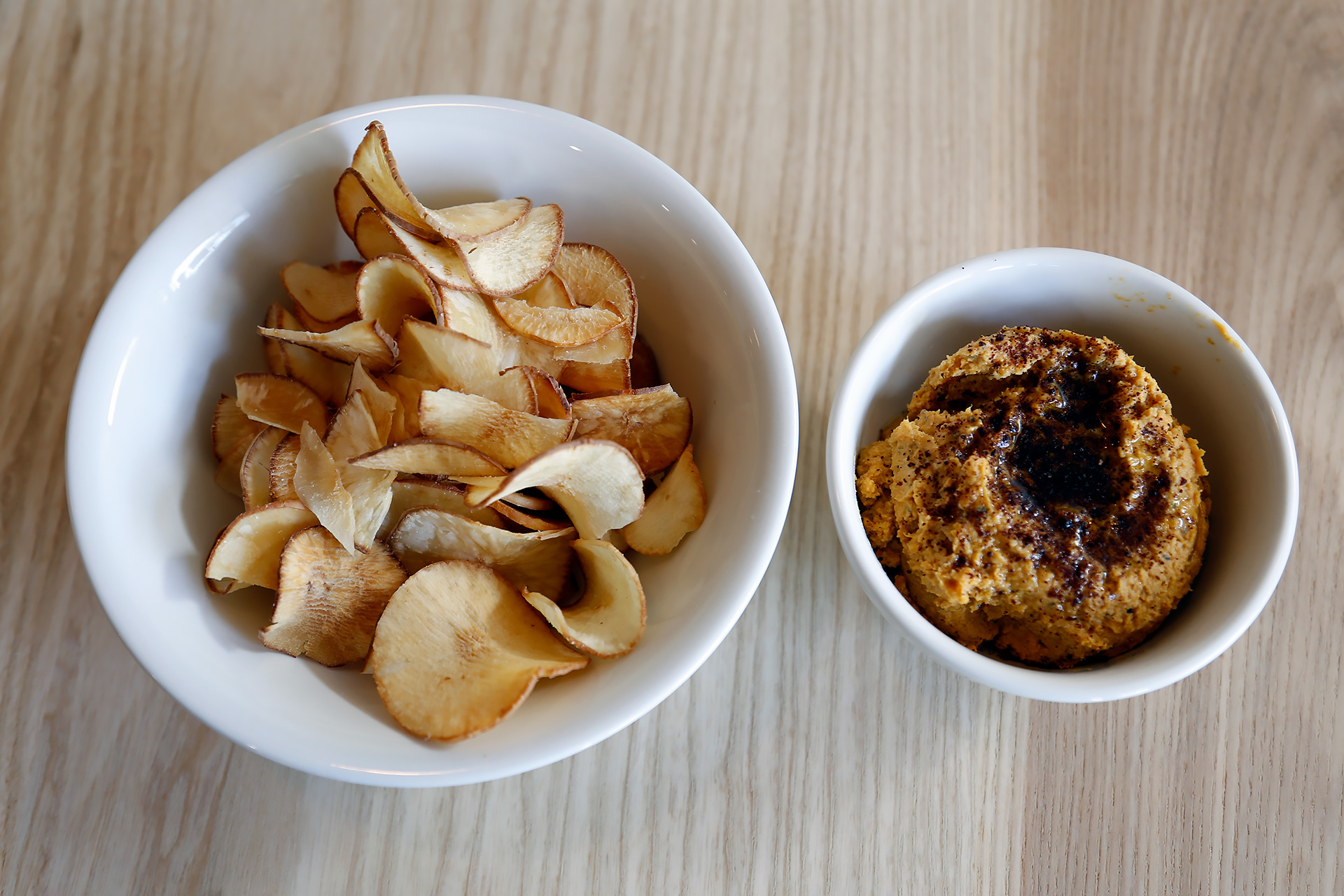 Butternut squash hummus and yucca chips.