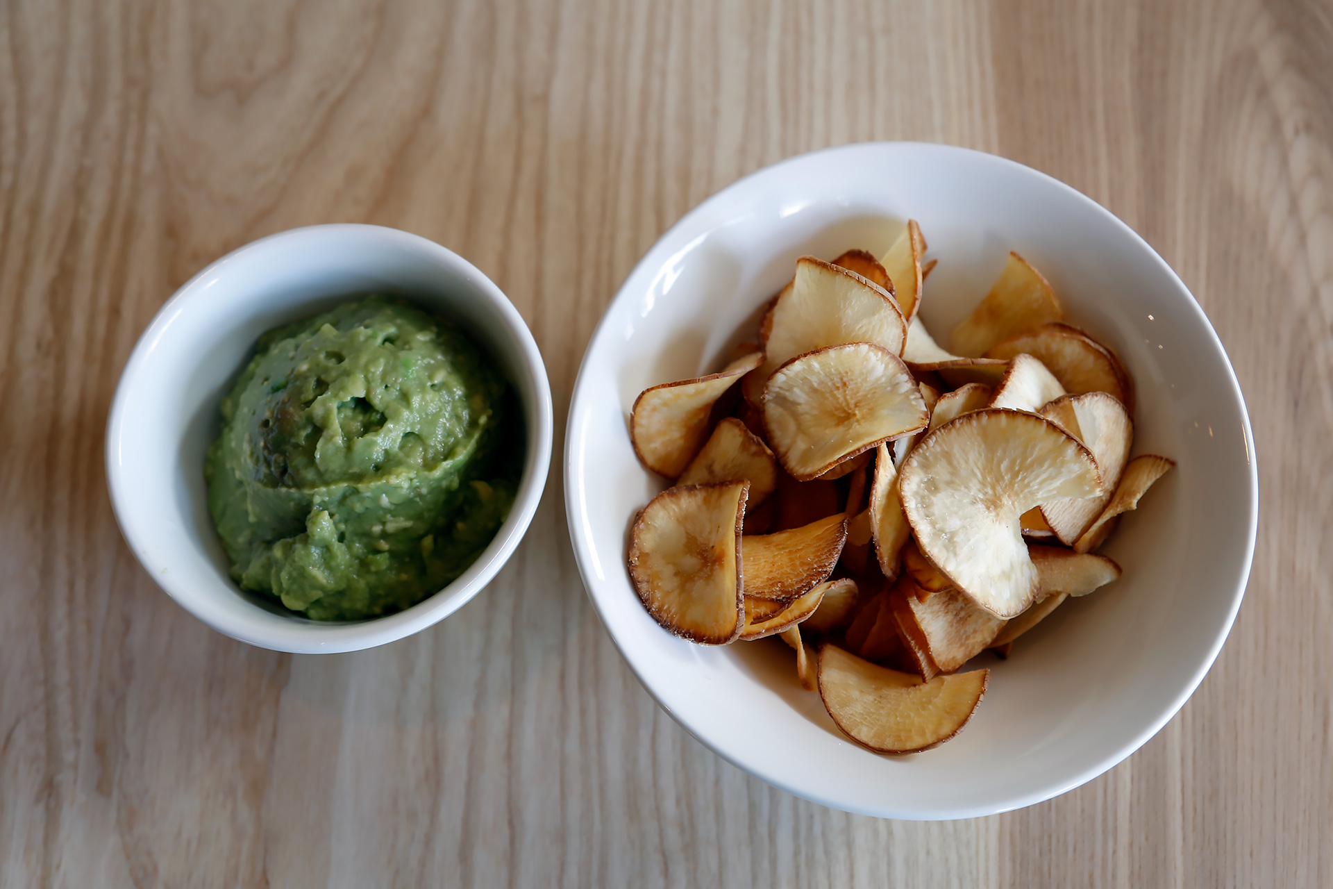 Avocado mash with yucca chips.