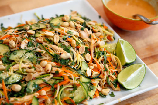 Asian-Style Noodle Salad with Turkey, Veggies, Herbs, and Lime-Peanut Vinaigrette