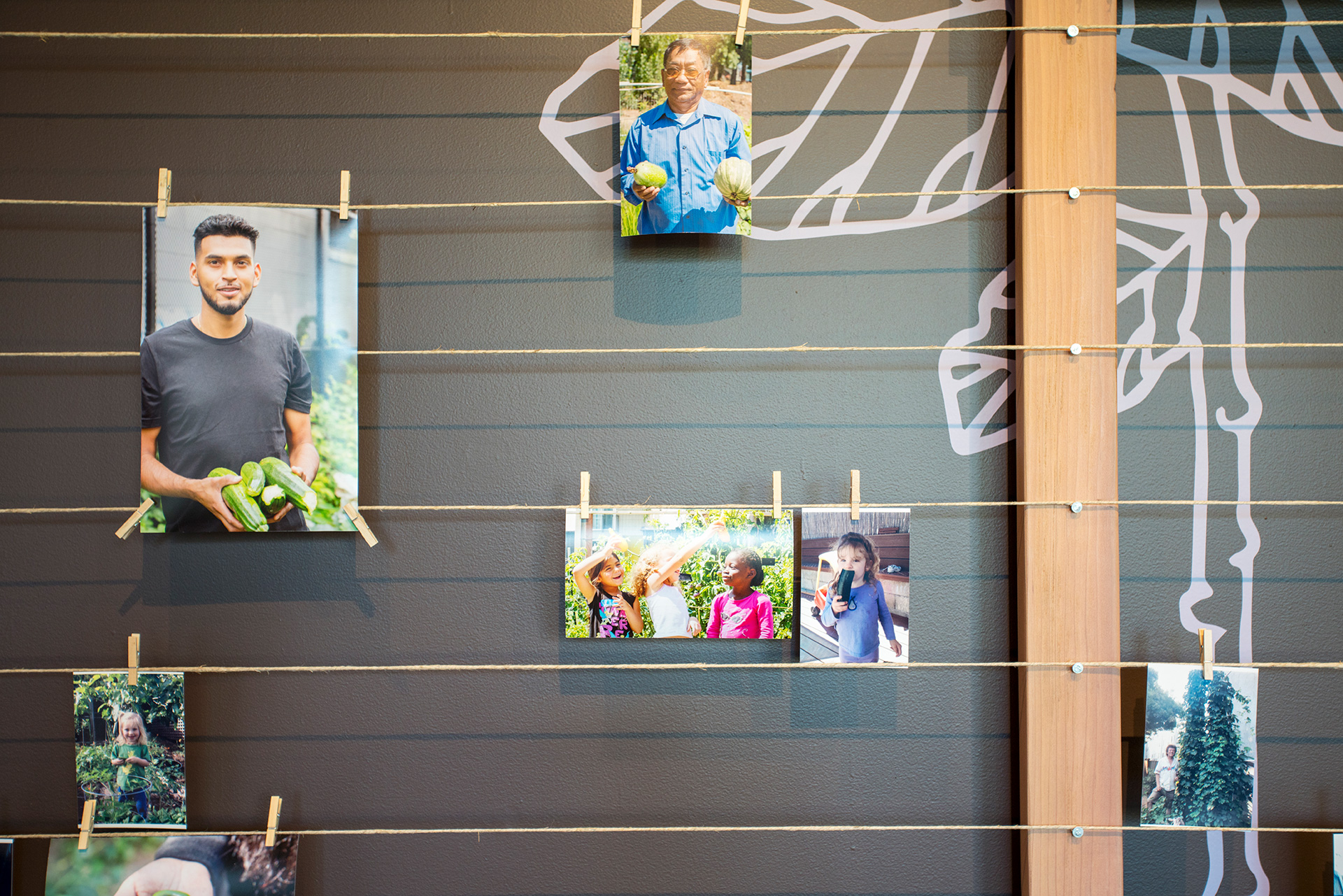 Visitors can send photos of themselves with their crops to be included on the wall.