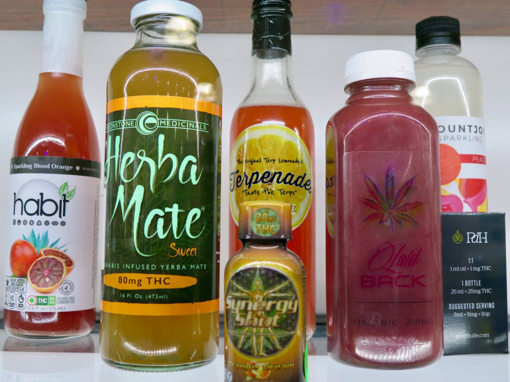 An array of some of the cannabis-infused drinks that were submitted for judging at 2017's The Emerald Cup.