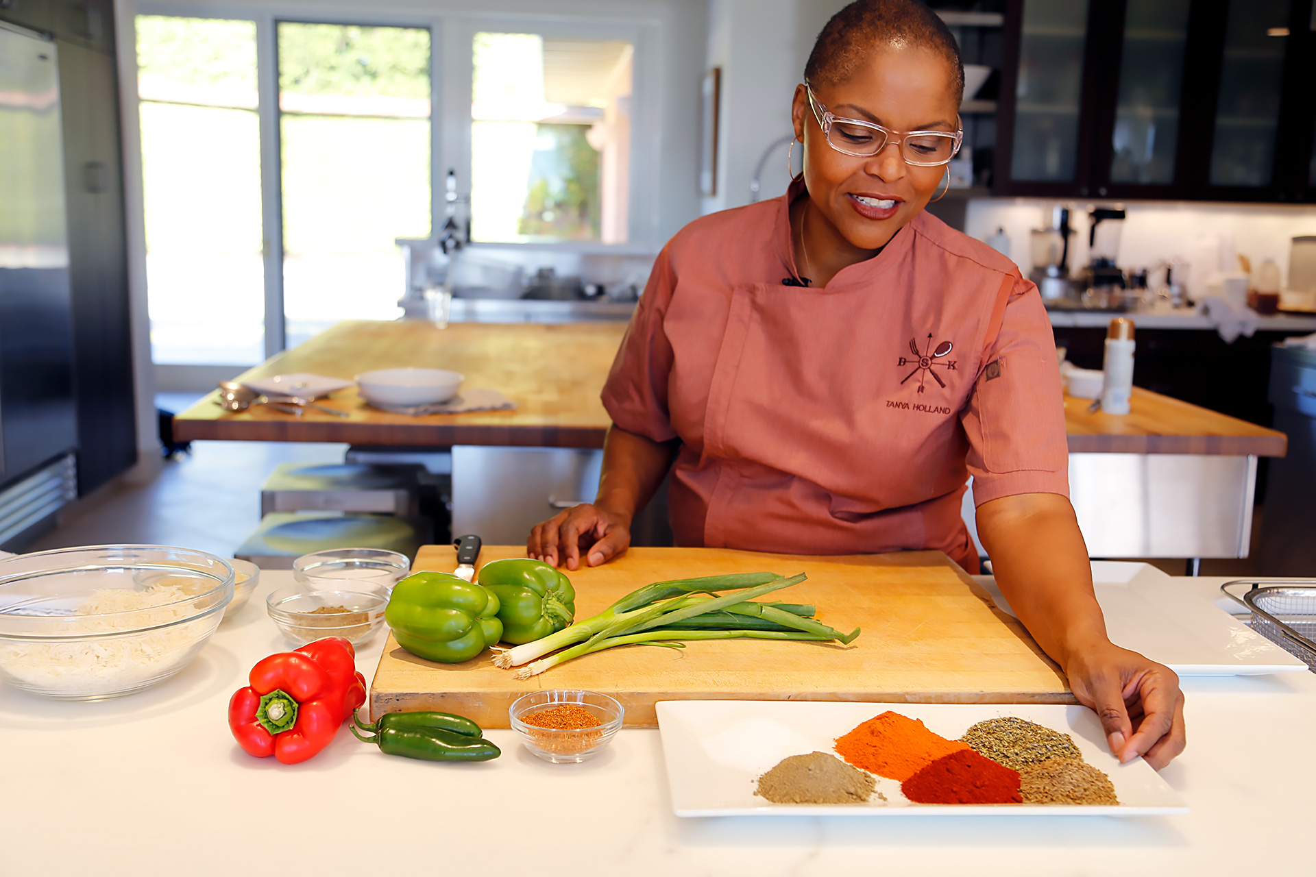 Tanya Holland preps ingredients for Vegetarian Dirty Rice