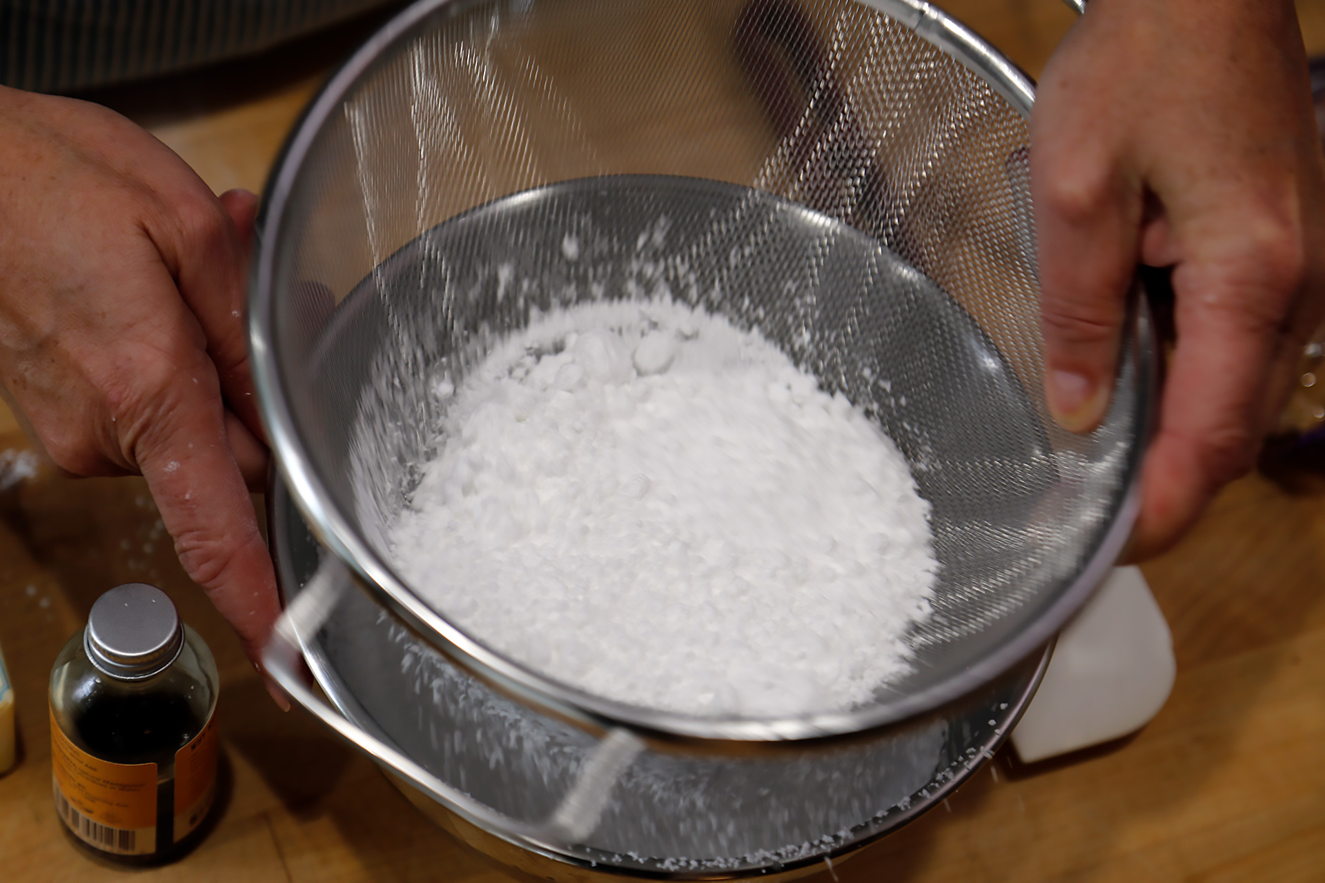 Sift 1 cup powdered sugar.