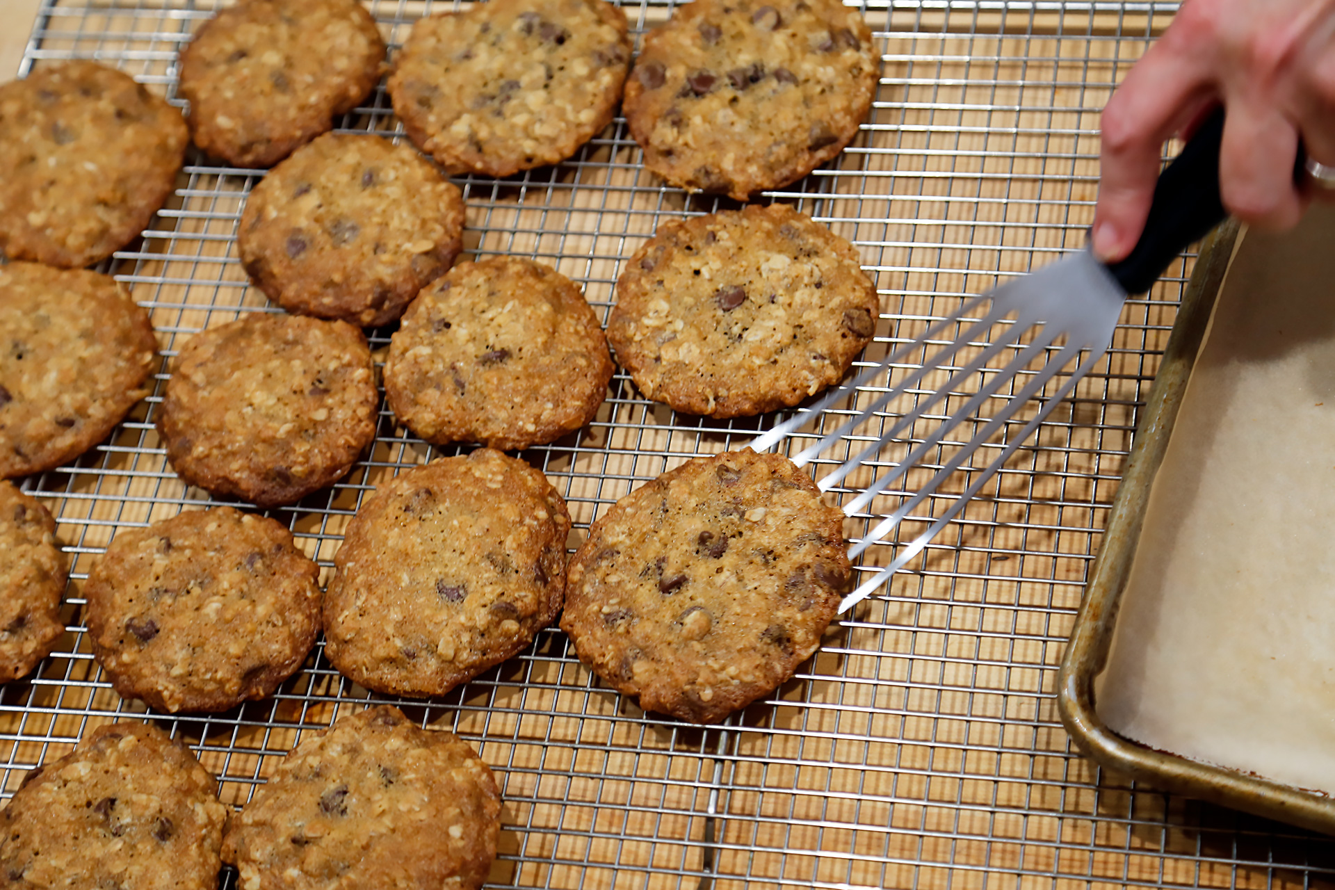 Bake until golden brown, about 10 to 12 minutes. Let cool in the pan on a wire rack for 5 minutes, then use a metal spatula to transfer the cookies directly to wire racks to cool.