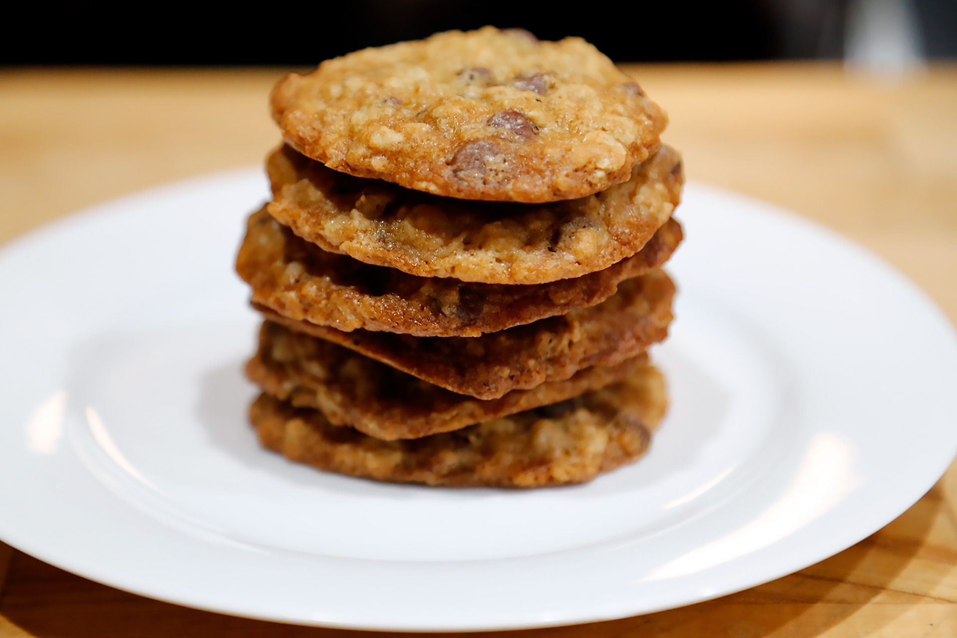 Serve the Oatmeal-Chocolate Chip Cookies