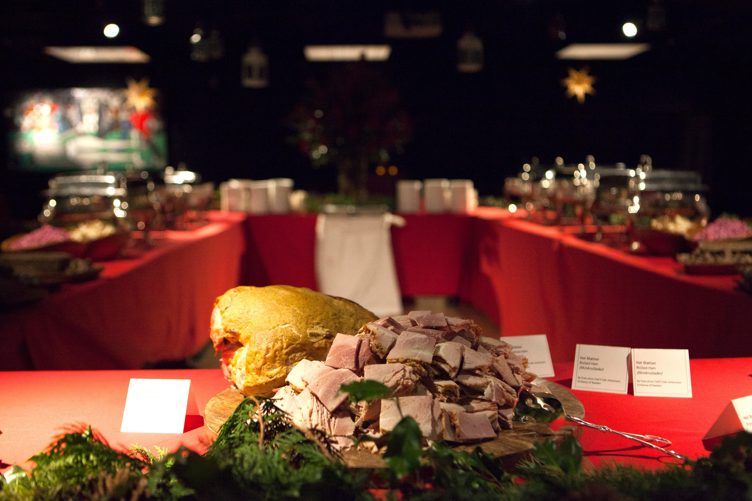"""Ham is often considered a star of the julbord, seen here at the Swedish embassy. Aquavit chef Emma Bengtsson says as a child, she loved her mother's Christmas ham: It was """"really, really good. Other people would say it's dry as hell and overcooked, but that's what I grew up with. I can't eat it any other way."""""""