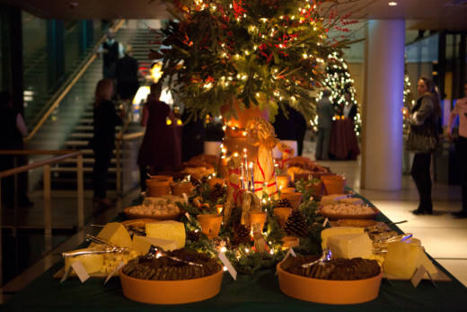A smörgåsbord at the Christmas party held at the Swedish Embassy in Washington, D.C. this year. The smörgåsbord was introduced to America in 1939 by the Swedish delegation to the World's Fair. The holiday version of the meal, called a julbord, is traditionally served on Dec. 24 and features an endless array of fish, bread and cheese, cold meats, hot dishes and dessert.