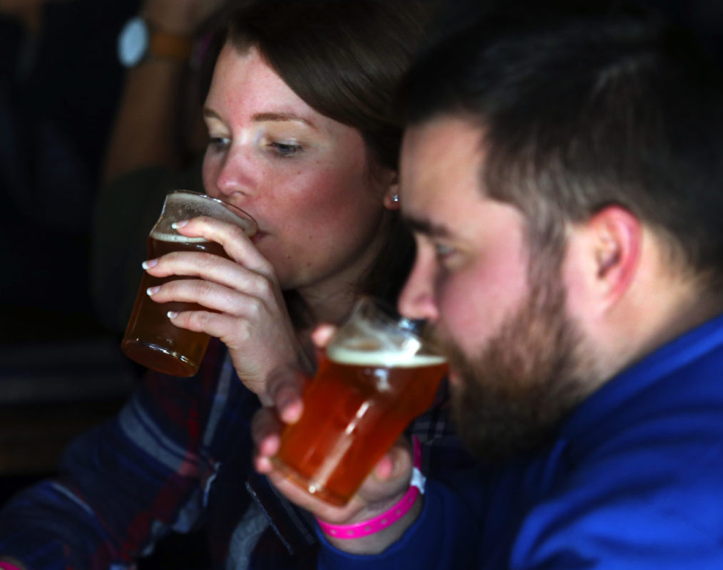 Beer lovers taste their Pliny the Younger during the 2017 release.